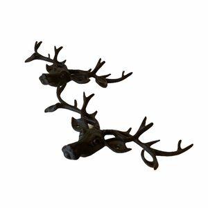 2 solid cast iron deer head decor hooks